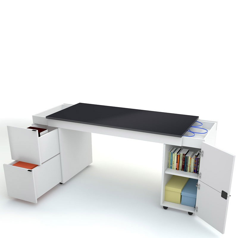 Young Users Sliding desk TRANSFORMERS black worktop